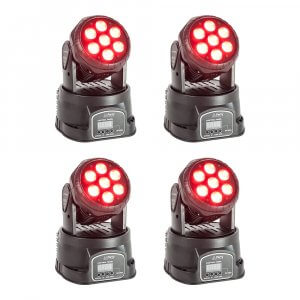 4x Party Light Sound LED Moving Head Wash 7 x 8W RGBW