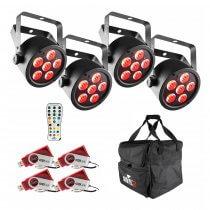 4x Chauvet DJ EZPAR T6 with 4x D-Fi Transceiver, Wireless Remote and Carry Bag