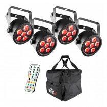 4x Chauvet DJ EZPAR T6 inc Wireless Remote and Carry Bag