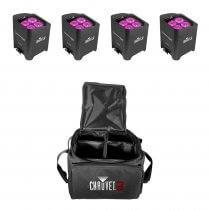 4x Chauvet DJ Freedom PAR HEX 4 Wireless Battery Powered Uplighters