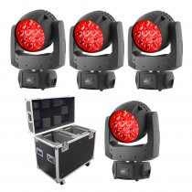 4x Chauvet DJ Intimidator Wash Zoom 450 IRC LED Moving Head inc Flightcase