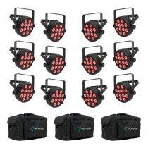 12x Chauvet DJ SlimPAR Q12 Bluetooth Wireless LED PAR Can inc. Carry Bags