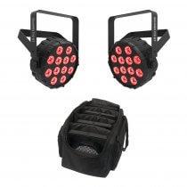 2x Chauvet DJ SlimPAR T12 Bluetooth Wireless LED PAR Can inc. Carry Bag