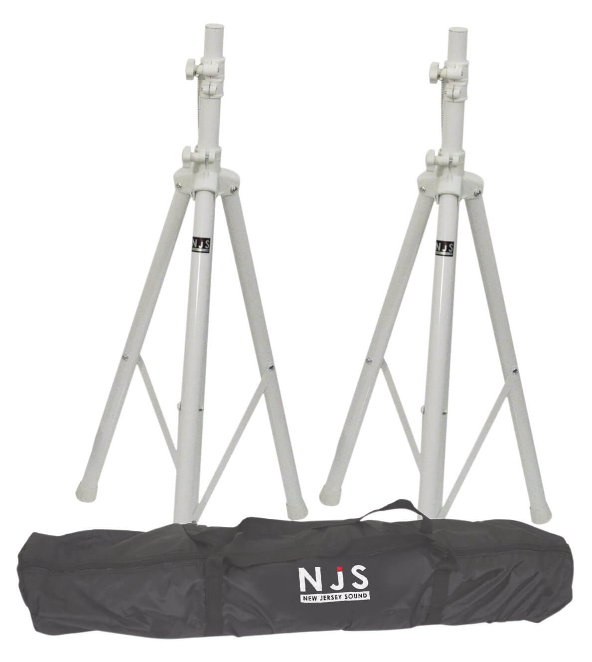 NJS White Speaker Stand Kit Including Bag Pair of Heavy Duty Stands