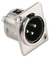 3P XLR Male Silver Chassis Panel Mount Socket