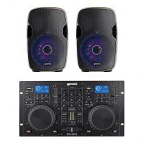 Gemini CDM4000 Dual CD DJ Controller + 2x AS-15BLU-LT Speakers