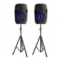 2x Gemini AS-15BLU-LT 4000W Active Speaker Bundle