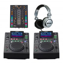 2x Gemini MDJ-500 + PMX-10 Mixer DJ Media Player Starter Package inc Headphones Disco