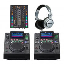 2x Gemini MDJ-600 + PMX-10 Mixer DJ CD Player Starter Package inc Headphones Disco