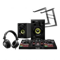 Hercules DJ Learning Kit inc Inpulse 200 Controller & Monitor Speakers Disco Setup Bundle